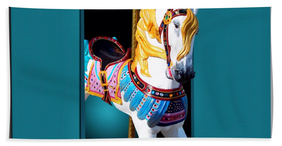 Carousel Animal Beach Towel featuring the photograph Carousel Horse White by Thomas Woolworth