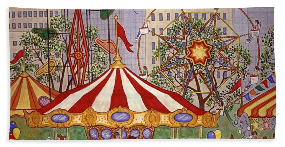 City Scape Beach Towel featuring the painting Carousel In City Park by Linda Mears