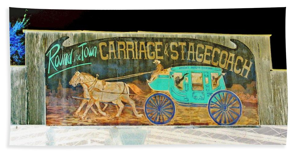 Computer Graphics Beach Towel featuring the photograph Carriage And Stagecoach Sign by Marian Bell