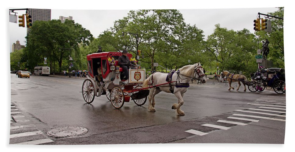 Carriage Ride Beach Towel featuring the digital art Carriage Ride In Central Park by Carol Ailles