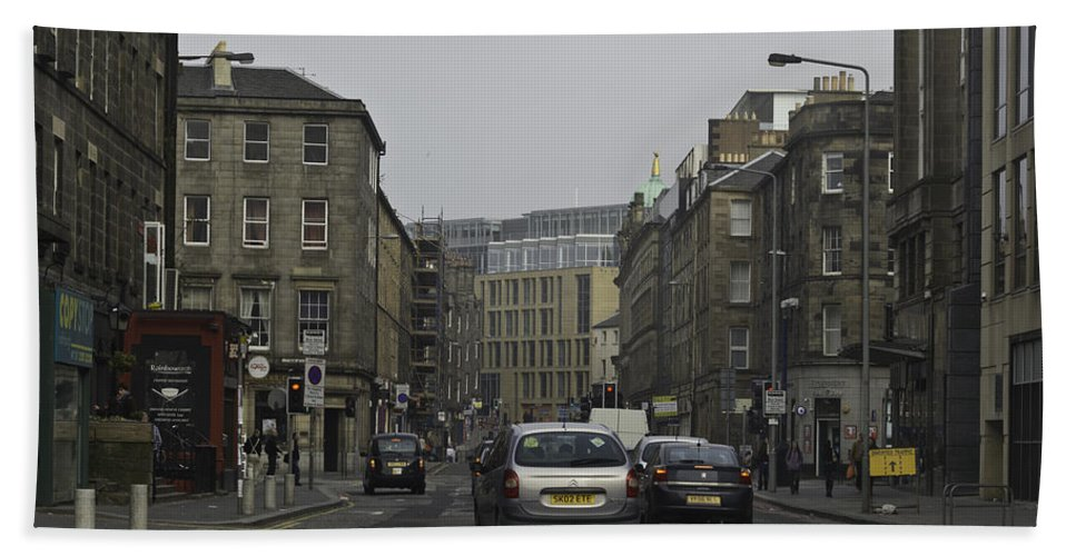 Action Beach Towel featuring the photograph Cars And Buildings On The Streets Of Edinburgh by Ashish Agarwal
