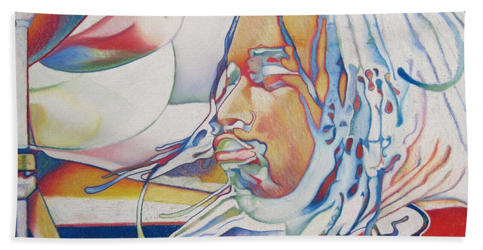 Carter Beauford Beach Towel featuring the drawing Carter Beauford Colorful Full Band Series by Joshua Morton