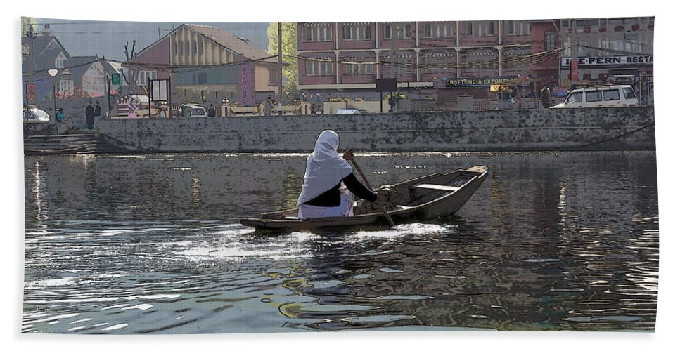 Action Beach Towel featuring the photograph Cartoon - Light Following This Lady On A Wooden Boat On The Dal Lake In Srinagar by Ashish Agarwal