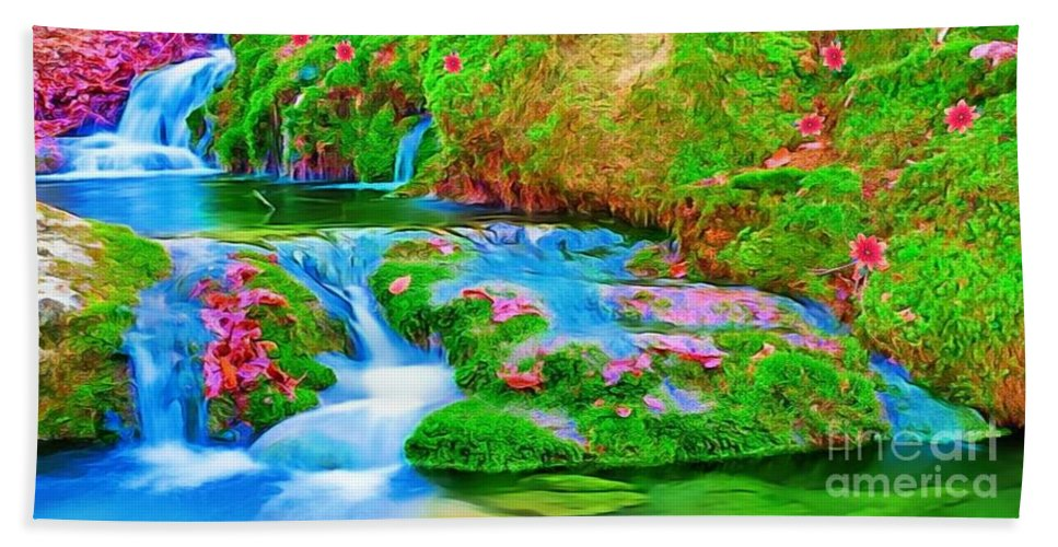 Casscades Beach Towel featuring the painting Cascades by Catherine Lott