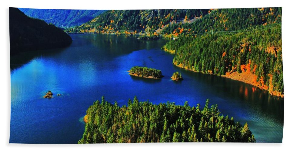 Cascades Beach Towel featuring the photograph Cascades Lake by Benjamin Yeager