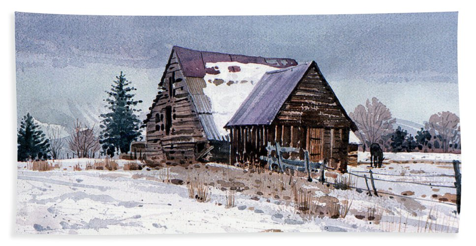 Utah Beach Towel featuring the painting Cache Valley Barn by Donald Maier