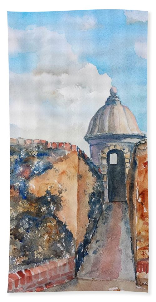 Puerto Rico Beach Towel featuring the painting Castillo De San Cristobal Sentry Door by Carlin Blahnik CarlinArtWatercolor