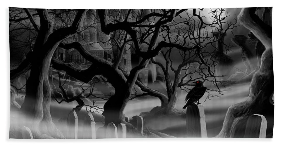 Castle Beach Towel featuring the painting Castle Graveyard by James Christopher Hill
