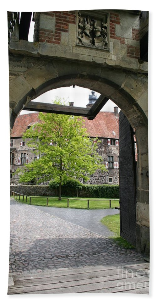 Entrance Beach Towel featuring the photograph Castle Vischering Archway by Christiane Schulze Art And Photography