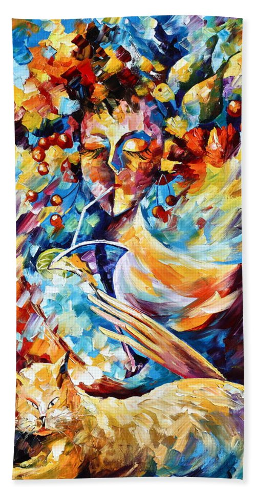 Cat Beach Towel featuring the painting Cat Dreams by Leonid Afremov