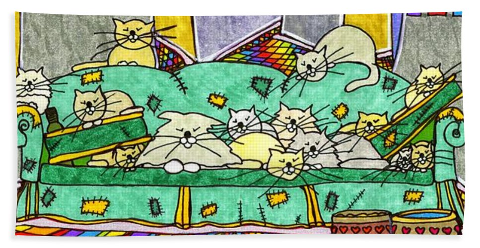 Cats Beach Towel featuring the painting Cat Family - In The City by Maggie Pringle