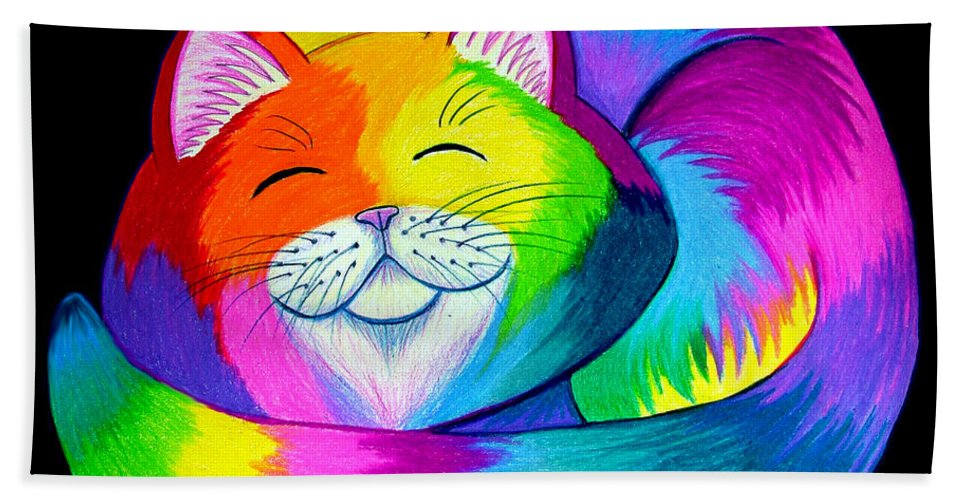 Cat Art Beach Towel featuring the drawing Cat Napping 2 by Nick Gustafson