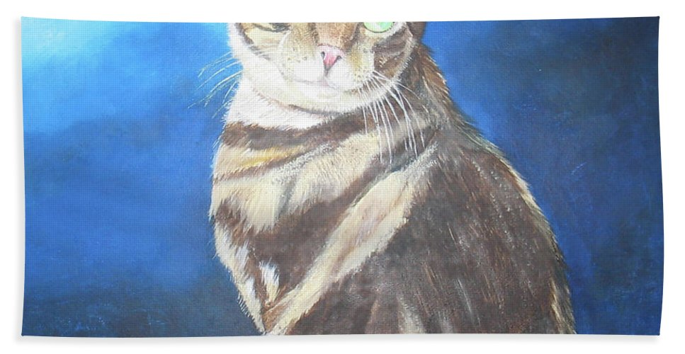 Persian Beach Towel featuring the painting Cat Profile by Thomas J Herring
