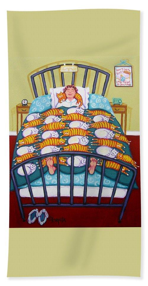 Rebecca Korpita Beach Towel featuring the painting Cat Quilt by Rebecca Korpita