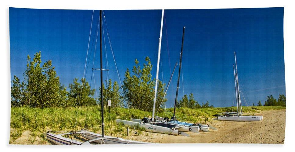 Art Beach Towel featuring the photograph Catamaran Sailboats On The Beach At Muskegon No. 601 by Randall Nyhof