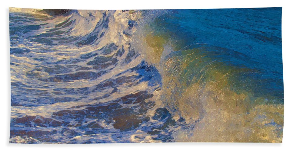 Ocean Beach Towel featuring the painting Catch A Wave by John Haldane