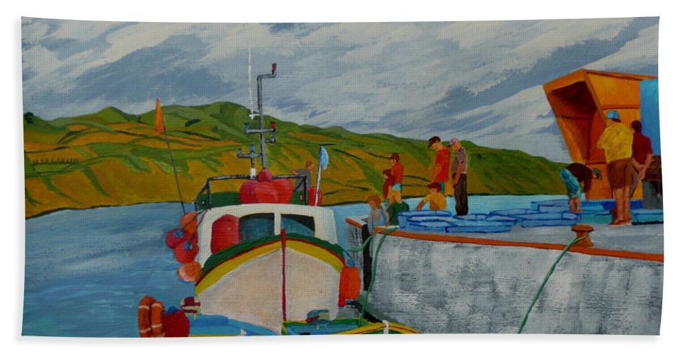 Boats Beach Towel featuring the painting Catch Of The Day by Anthony Dunphy