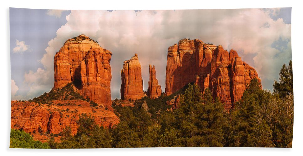 Cathedral Rock Beach Towel featuring the photograph Cathedral Rock Sunset by Bob and Nadine Johnston
