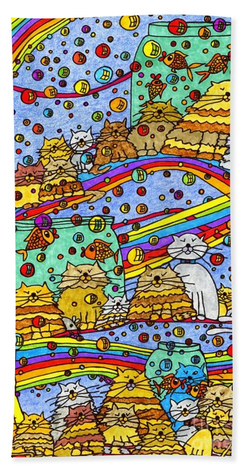 Cats Beach Towel featuring the painting Catnip Dreamzzzs by Maggie Pringle