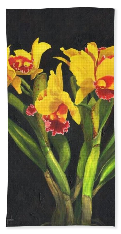Flower Beach Towel featuring the painting Cattleya Orchid by Richard Harpum