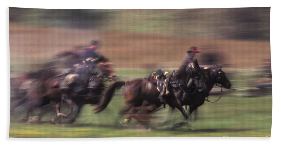 History Beach Towel featuring the photograph Cavalry Battle At A Civil War by Ron Sanford