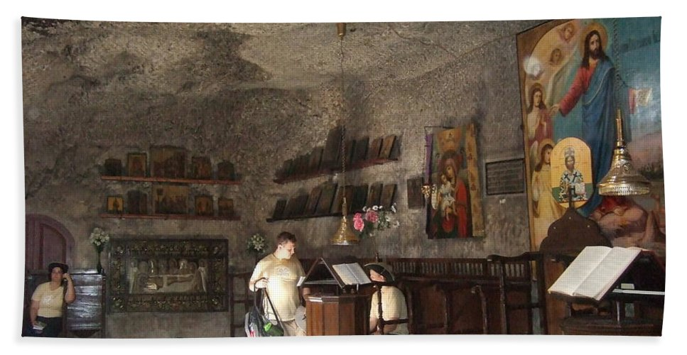 Jerusalme Beach Towel featuring the photograph Cave Chapel by Katerina Naumenko