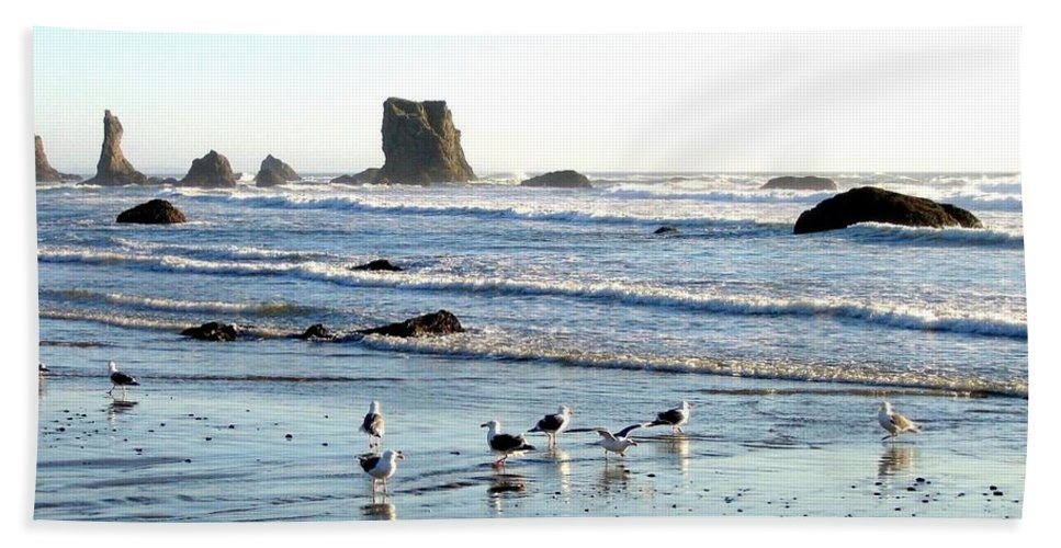 Cavorting Seagulls Beach Towel featuring the photograph Cavorting Seagulls by Will Borden