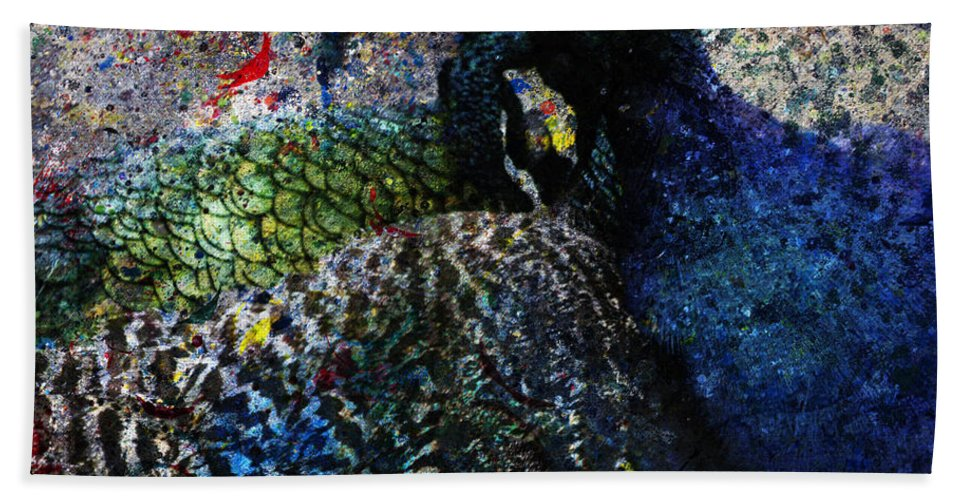 Bird Art Beach Towel featuring the digital art Celebration Of The Peacock #2 by Nola Lee Kelsey