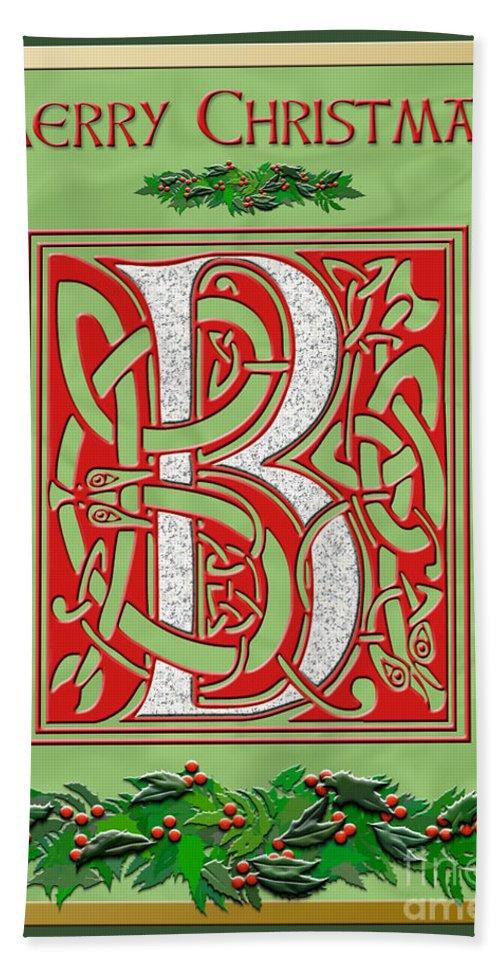 monogram beach sheet featuring the digital art celtic christmas b initial by melissa a benson - Celtic Christmas