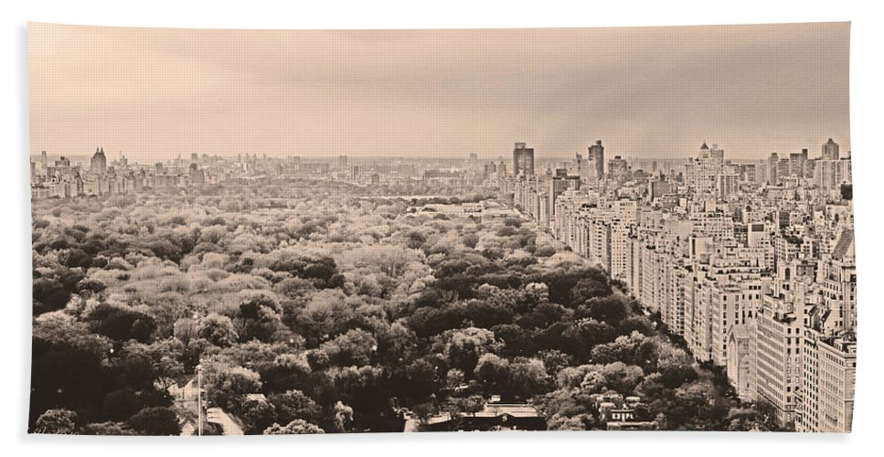 New York City Beach Towel featuring the photograph Central Park Pano Sepia by Joseph Hedaya