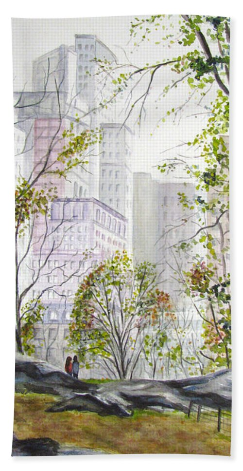 Ny Beach Towel featuring the painting Central Park Stroll by Clara Sue Beym