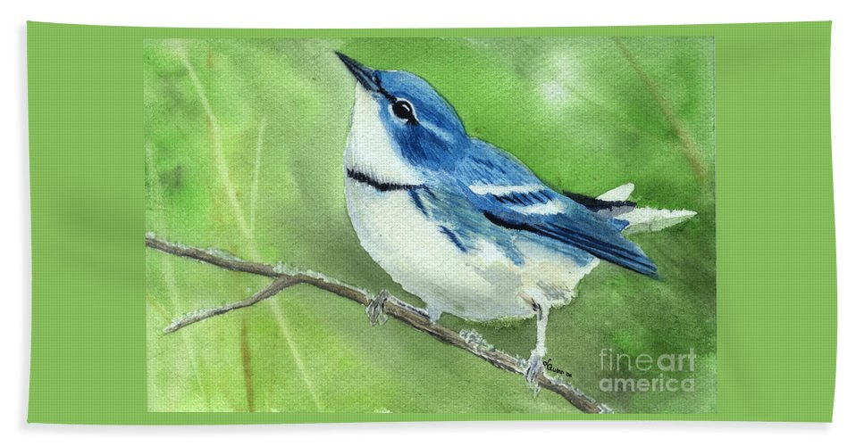 Bird Beach Sheet featuring the painting Cerulean Warbler by Lynn Quinn