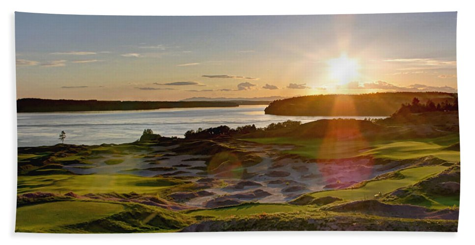 Chambers Creek Beach Towel featuring the photograph Chambers Bay Sun Flare - 2015 U.s. Open by Chris Anderson