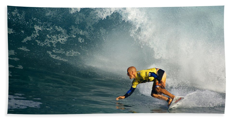 Kelly Slater Beach Towel featuring the photograph Champion At Pipeline Masters by Kevin Smith