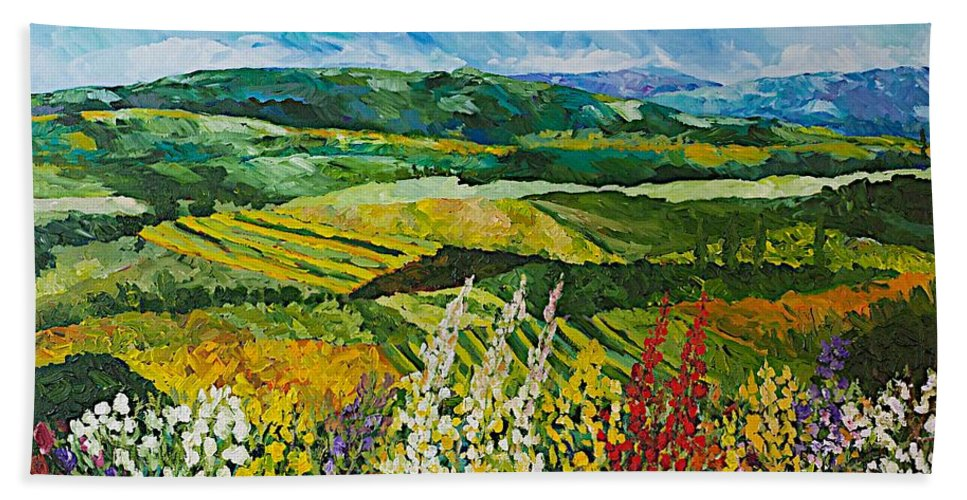 Landscape Beach Towel featuring the painting Change is in the Air by Allan P Friedlander