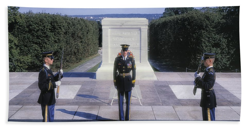 Arlington National Cemetery Beach Towel featuring the photograph Changing Of The Guard by Mountain Dreams