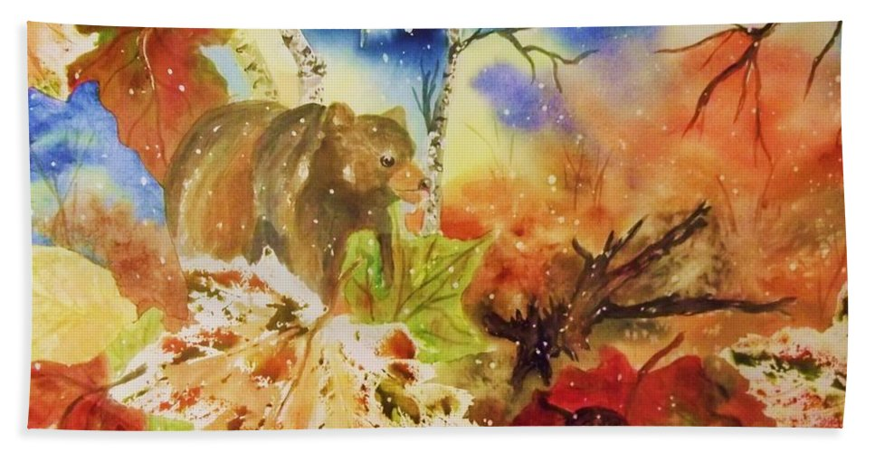 Bear Beach Towel featuring the painting Changing Of The Seasons by Ellen Levinson