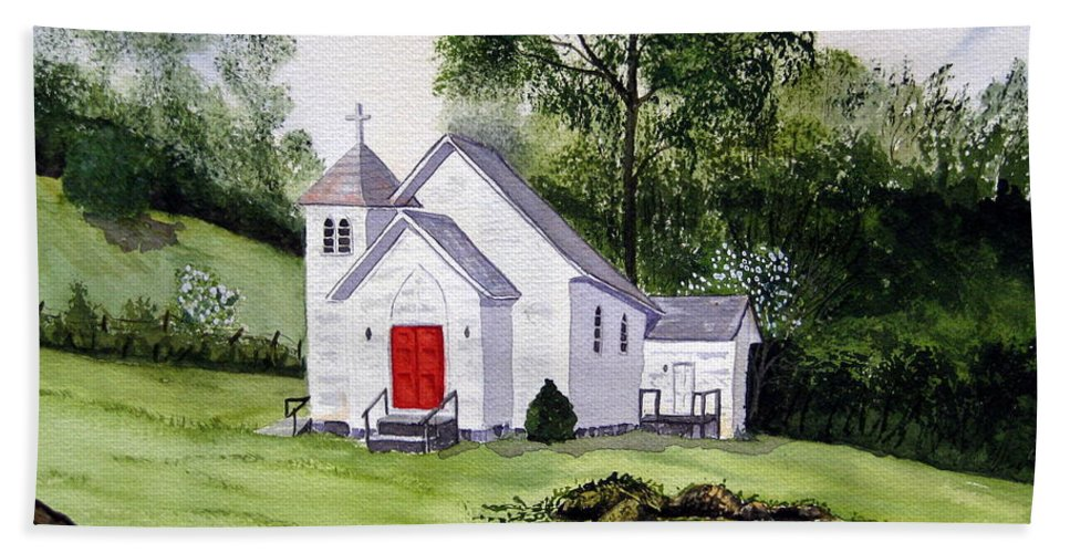 Church Beach Towel featuring the painting Chapel In The Mounts by Julia RIETZ
