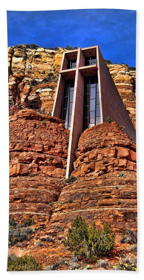 Sedona Arizona Beach Towel featuring the photograph Chapel Of The Holy Cross Sedona Arizona by Jon Berghoff