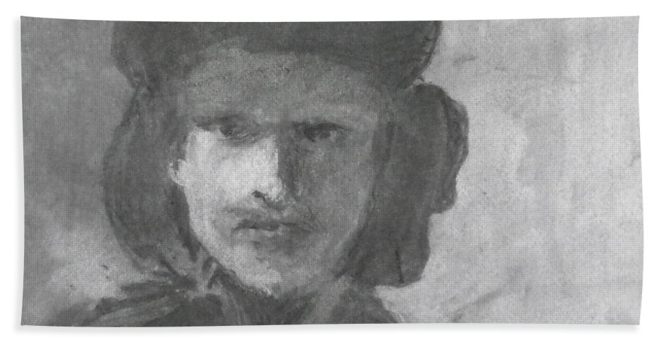 Rembrandt - Self-portrait With Velvet Beret Beach Towel featuring the drawing Charcoal Study Of Rembrandt Self-portrait With Velvet Beret by Anna Ruzsan