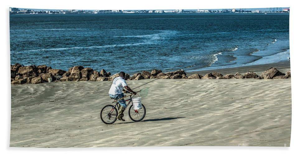 Fishing Beach Towel featuring the photograph Charleston Surf Fishing by Dale Powell