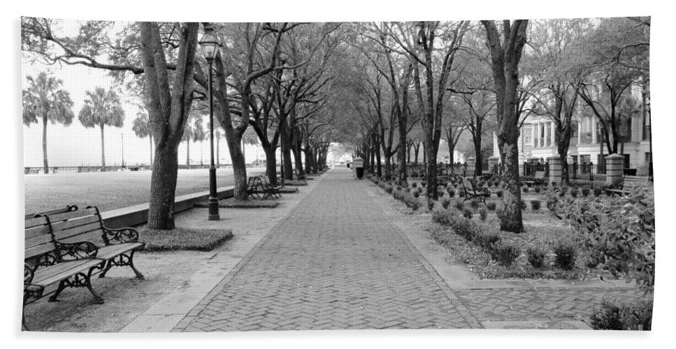 Charleston Beach Towel featuring the photograph Charleston Waterfront Park Walkway - Black And White by Carol Groenen