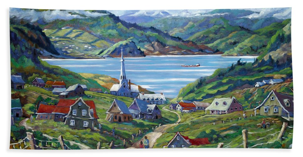 Beach Towel featuring the painting Charlevoix Scene by Richard T Pranke