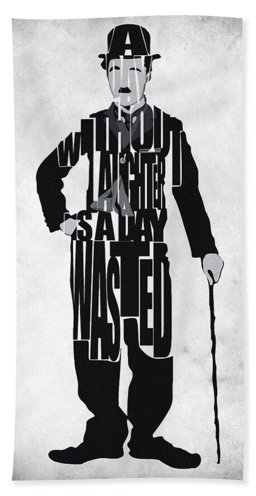 Charlie Chaplin Beach Towel featuring the painting Charlie Chaplin Typography Poster by Inspirowl Design