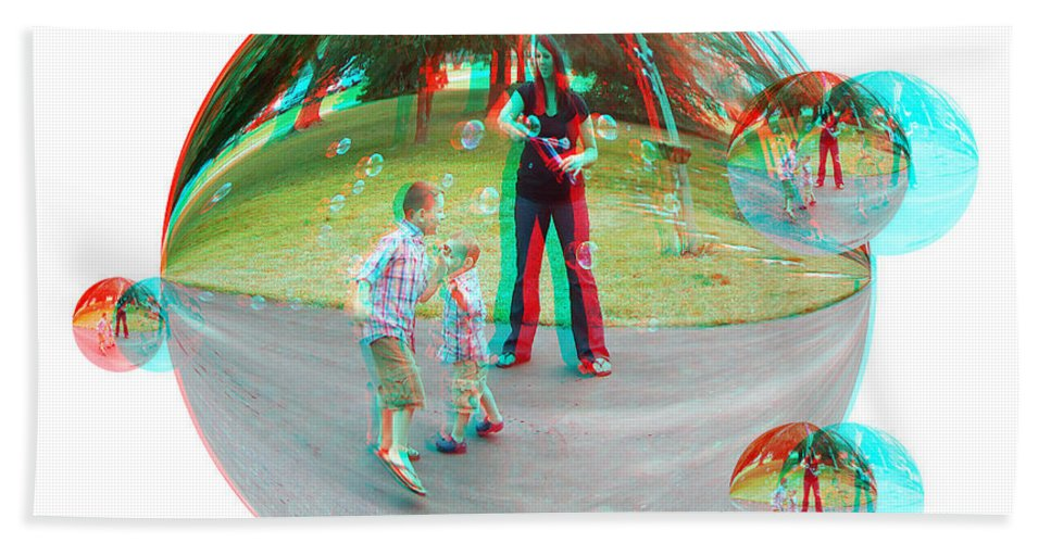 3d Beach Towel featuring the photograph Chasing Bubbles - Red/cyan Filtered 3d Glasses Required by Brian Wallace