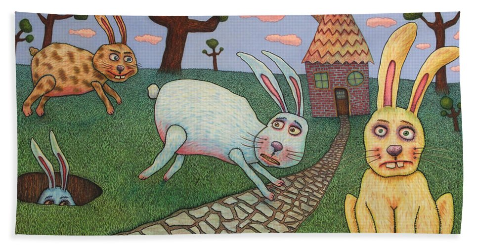 Rabbits Beach Towel featuring the painting Chasing Tail by James W Johnson