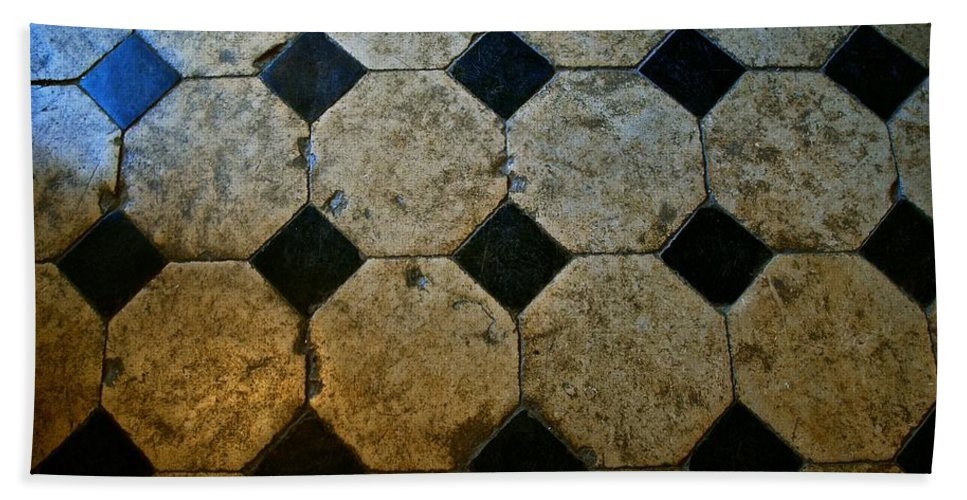 Chateau Beach Towel featuring the photograph Chateau Brissac's Tile Floor by Eric Tressler