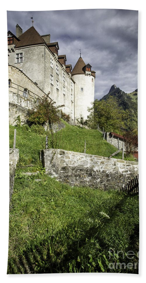 Leysin Beach Towel featuring the photograph Chateau De Gruyeres by Timothy Hacker