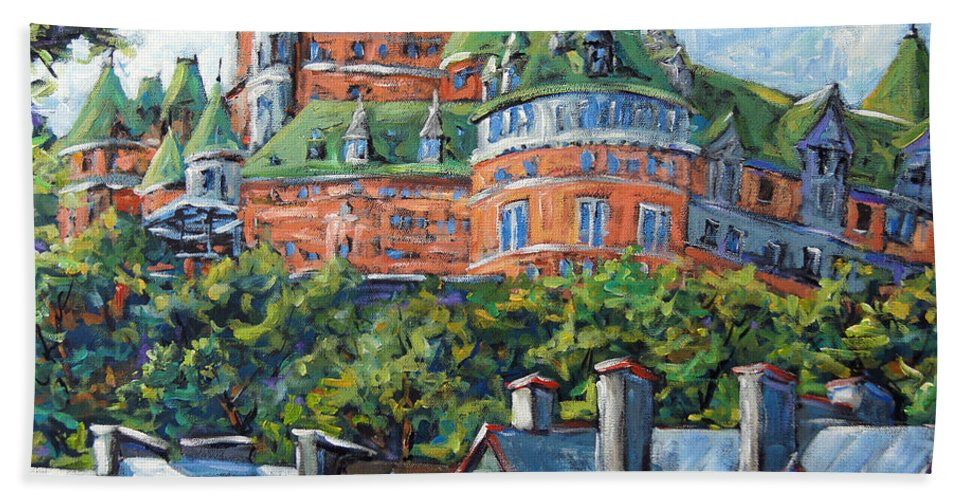 Urban Scene Beach Towel featuring the painting Chateau Frontenac by Prankearts by Richard T Pranke
