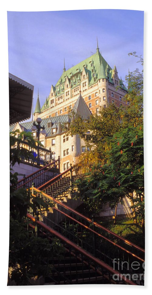 Chateau Frontenac Quebec Canada Chateaus Step Steps City Cities Cityscape Cityscapes Building Buildings Architecture Structure Structures Landmark Landmarks Landscape Landscapes Beach Towel featuring the photograph Chateau Frontenac In Quebec by Bob Phillips